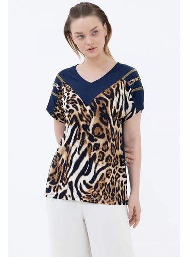 Sementa V Yaka Taşlı Leopar Desenli Bluz - Lacivert Lacivert